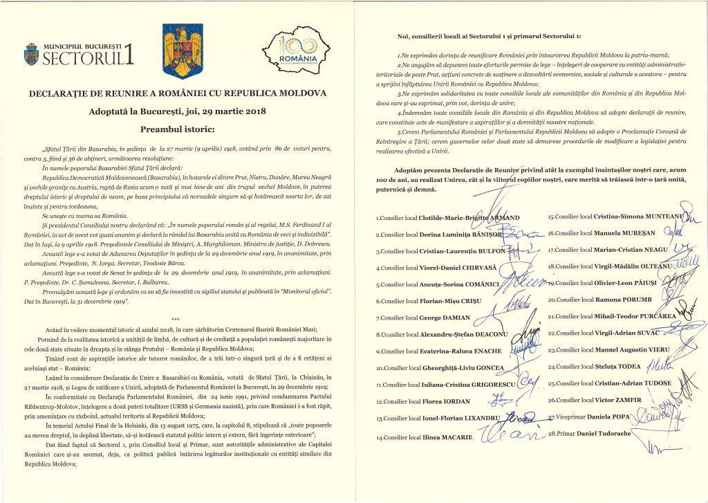 Consiliul Local al Sectorului 1 a adoptat, în unanimitate, Declarația de Reunire a României cu Republica Moldova