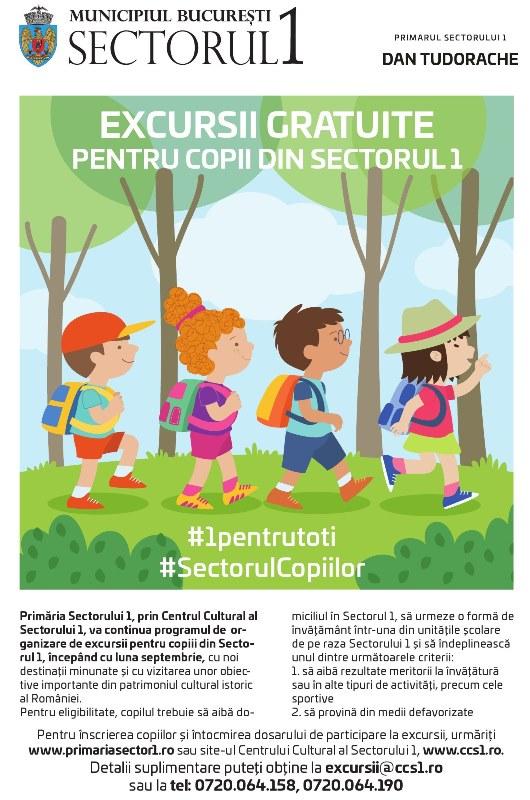 Excursii gratuite pentru copii din Sectorul 1