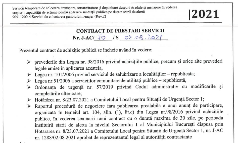 Publicăm contractul de salubrizare pentru starea de alertă