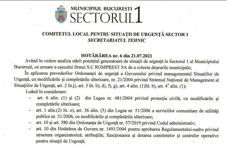 Comitetul Local pentru Situații de Urgență cere Prefecturii să declare stare de alertă în Sectorul 1